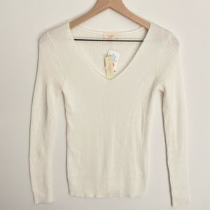 Ambiance ribbed cream sweater, size L, NWT